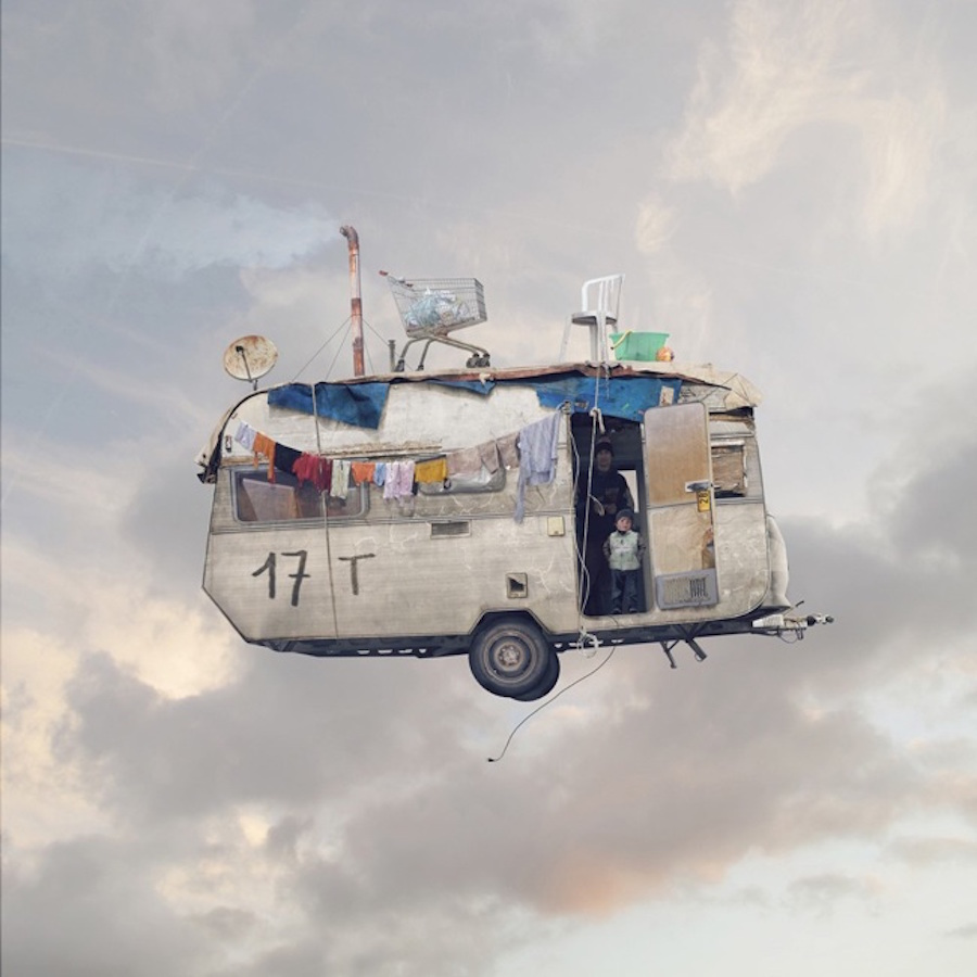 Poetic Flying Houses Photomontage by Laurent Chehere