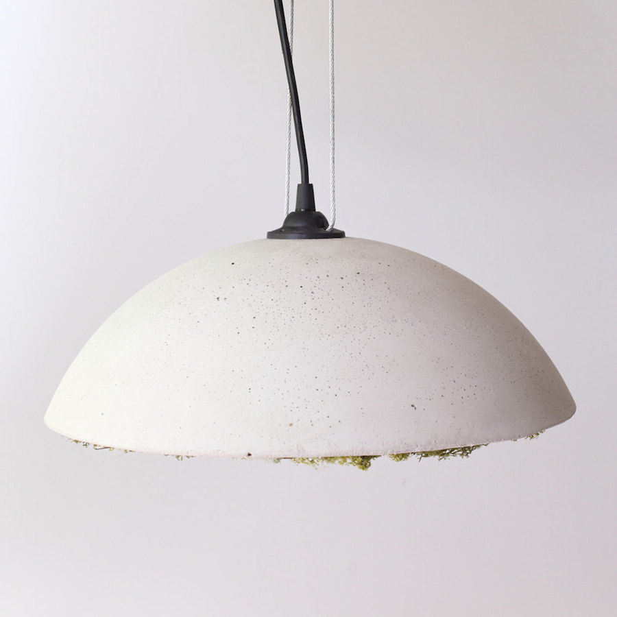 Stylish Clock and Ceiling Lights Covered with Icelandic Moss