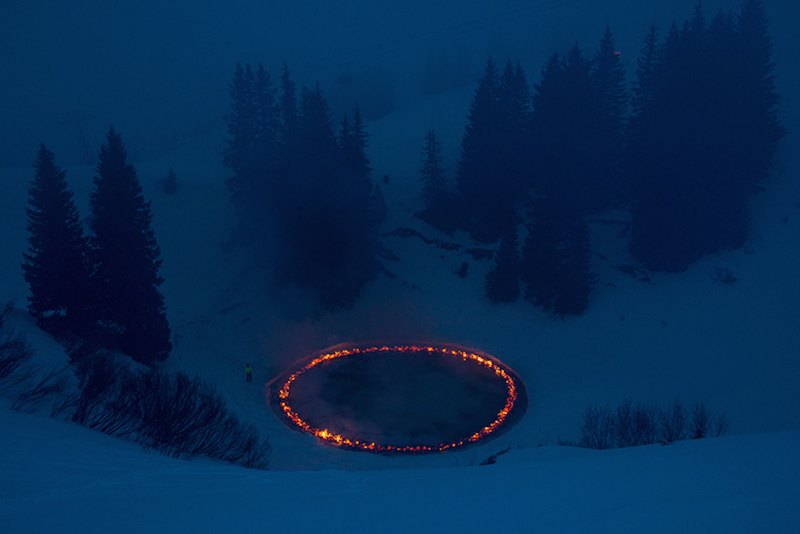A Ring of Fire Blazes in the Middle of the Swiss Alps