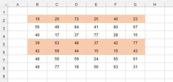 Рис. 3. С помощью условного форматирования создано три группы строк с чередующейся заливкой