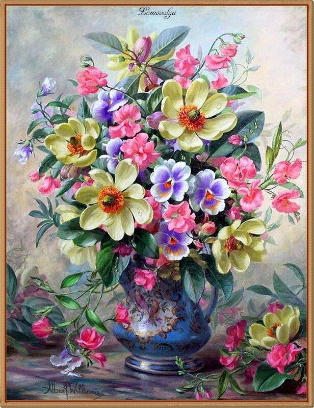 Albert Williams (1922-2010) Magnolia, sweet peas and daisies oil on canvas.jpg