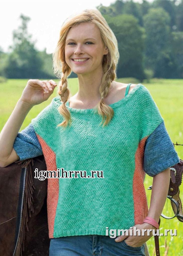 Трехцветный летний пуловер с короткими рукавами. Вязание спицами
