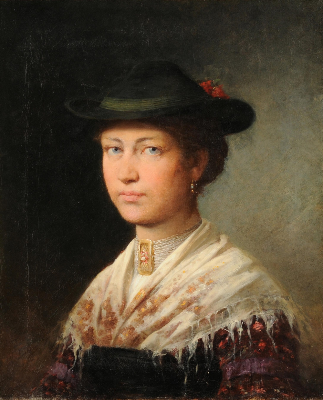 Junge Frau in traditioneller Bayerischer Kleidung by Adolf Luben.jpg