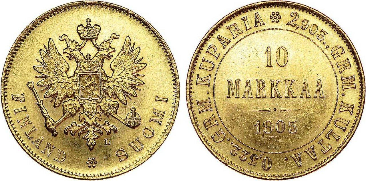 1905. 10 марок. Николай II