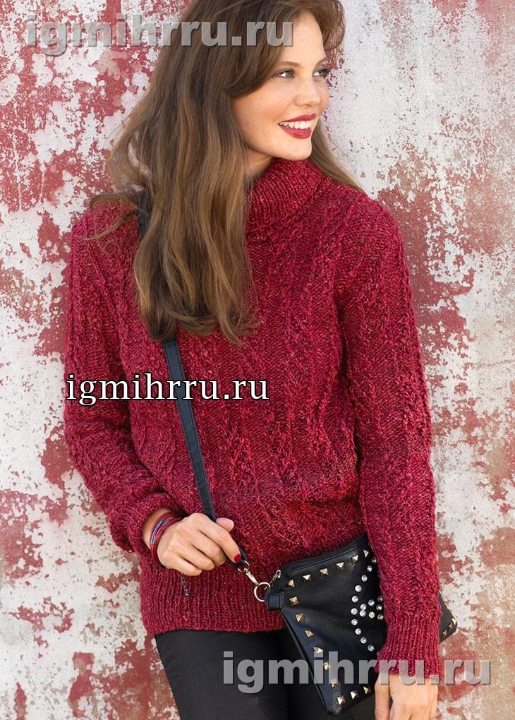 Красный свитер с рельефным узором. Вязание спицами