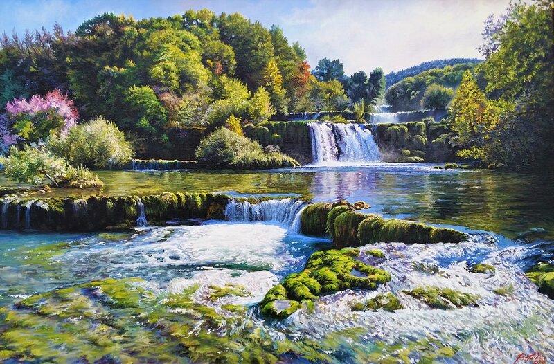 Пейзаж с водопадом ...