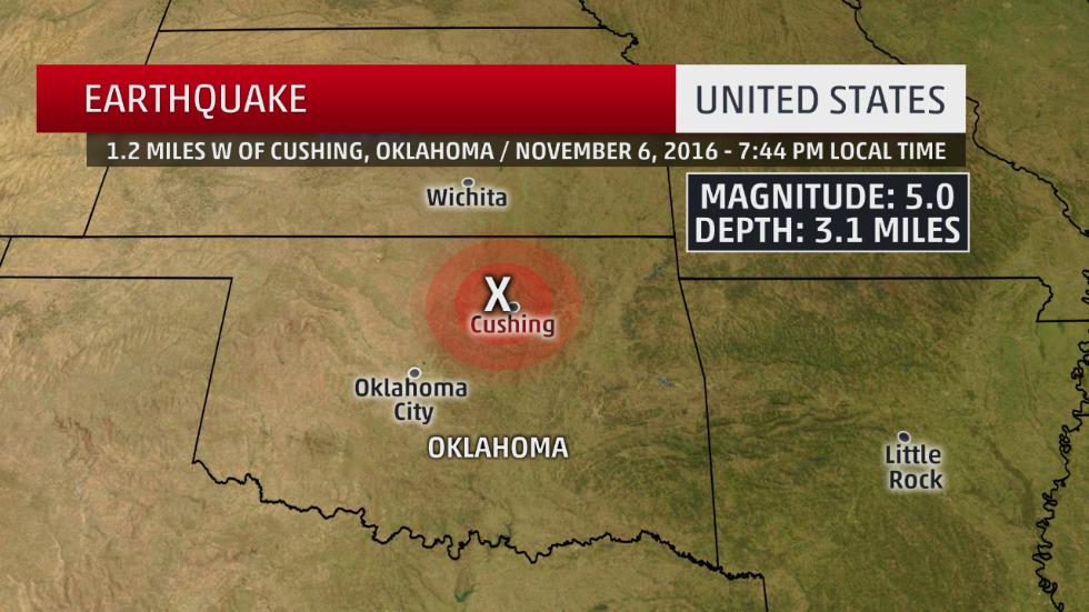 A 5.0-magnitude earthquake struck near Cushing, Oklahoma, Sunday evening.
