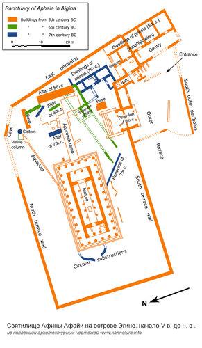 Святилище Афины Афайи на острове Эгине, генеральный план комплекса