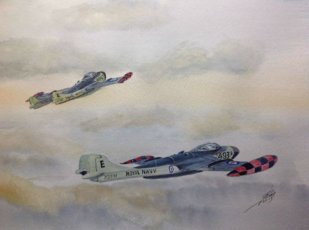 Quickie of two Sea Venoms. Always had a soft spot for them and the Sea Hawk, they were the first types I worked with on my first Carrier HMS Eagle.