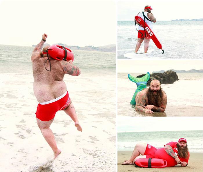 Пляжная фотосессия от весёлого бородатого мужчины без комплексов