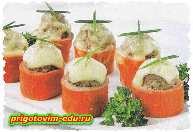 Морковь, фаршированная мидиями