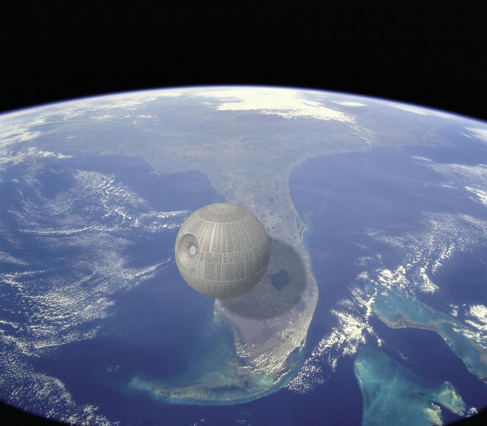 The Death Star's estimated width is around 99 miles across, or around 1/4th the length of Florida.