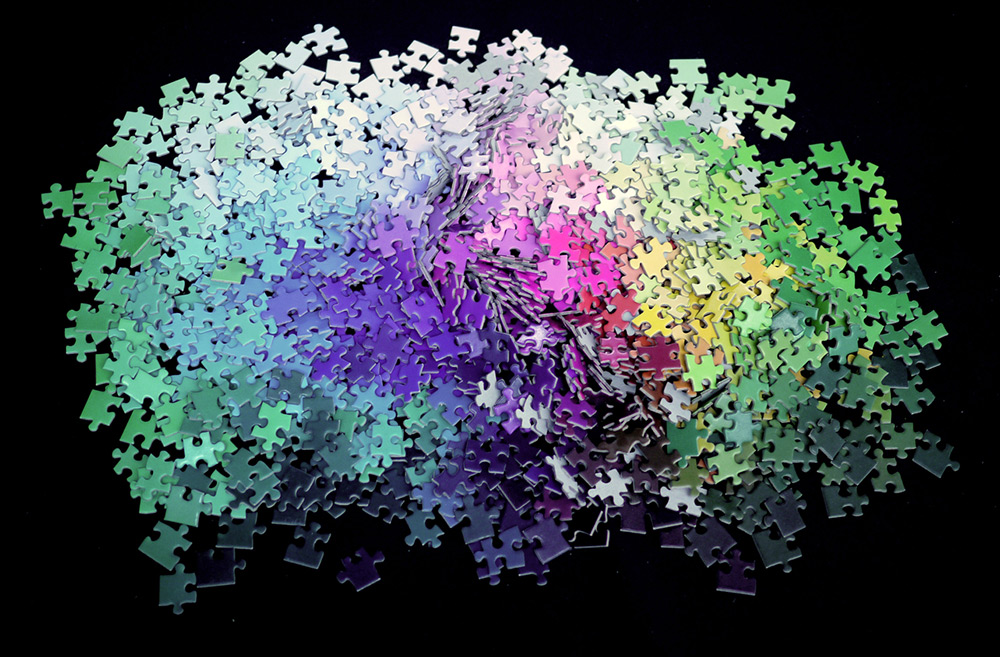 A 1,000-piece CMYK Color Gamut Jigsaw Puzzle by Clemens Habicht