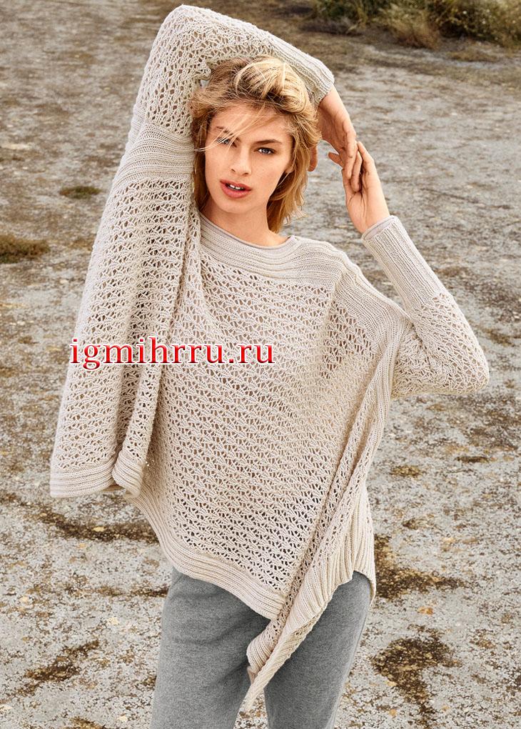 Свободный пуловер-пончо с ажурным узором. Вязание спицами
