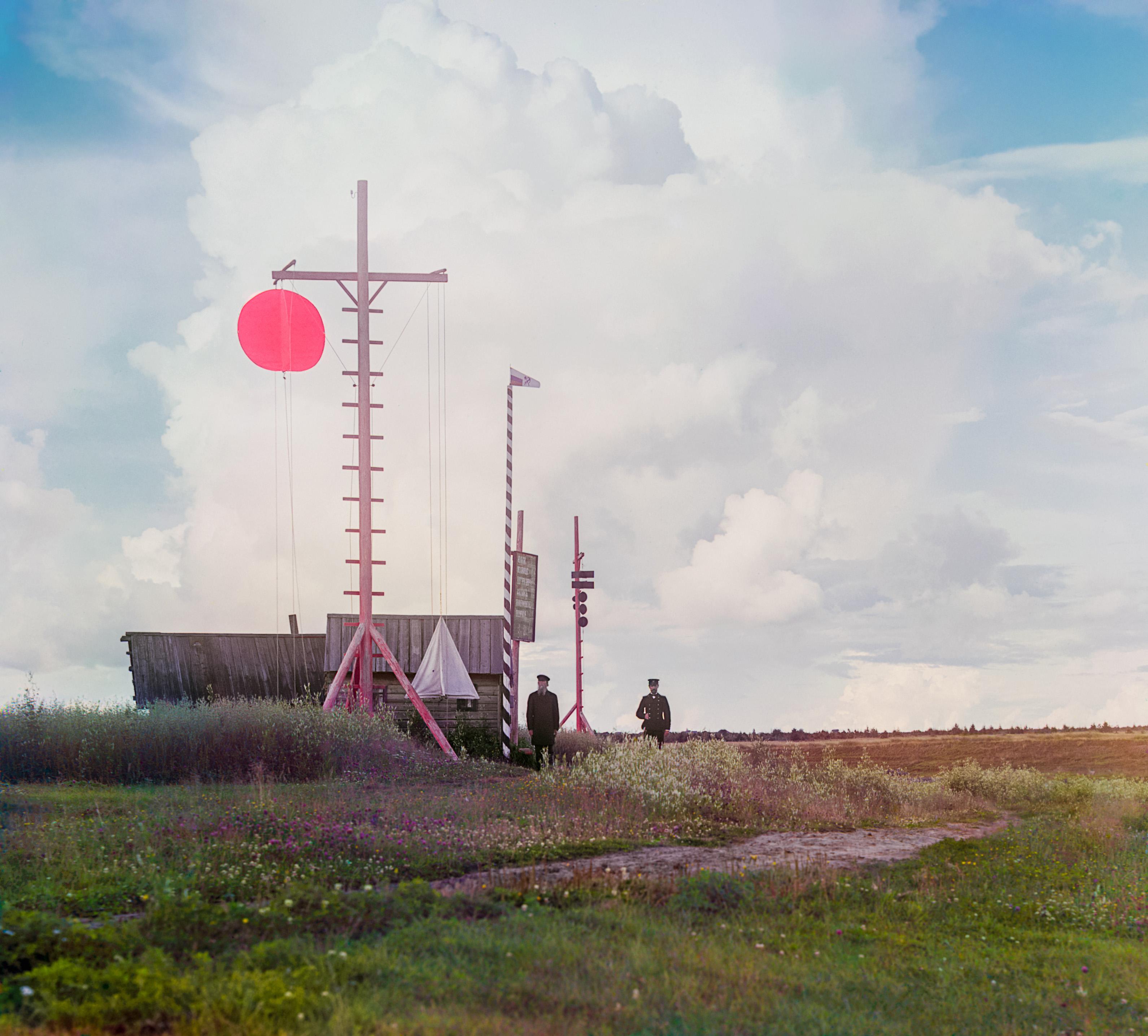 Сигнальная мачта в деревне Бурково