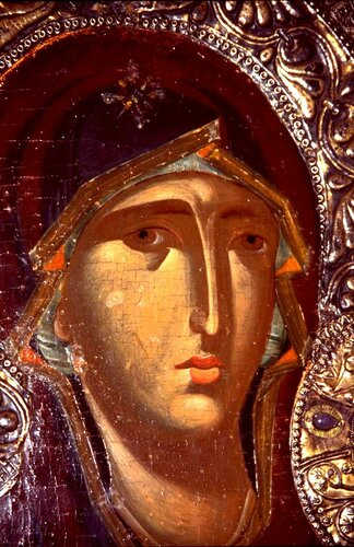Богоматерь Одигитрия. Икона. Византия, XIII век. Галерея икон в Охриде, Македония. Фрагмент.