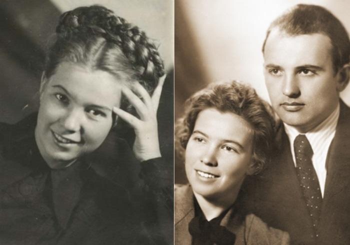 Слева – Раиса Титаренко в год поступления в МГУ, 1949. Справа – Михаил и Раиса Горбачевы, первый