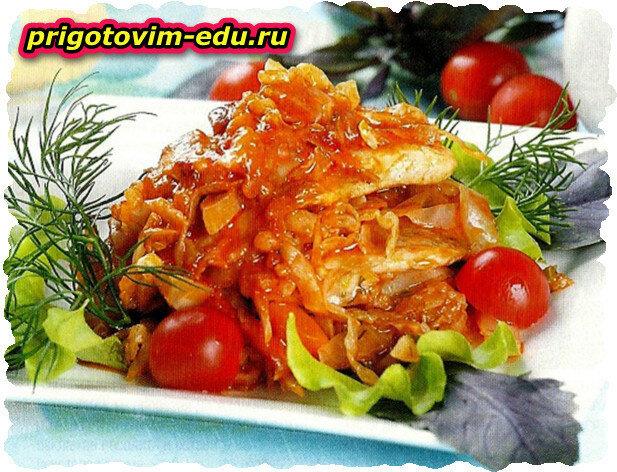 Овощная солянка с рыбой в духовке