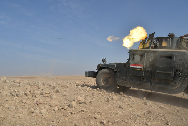Iraqi security forces military a vehicle is seen during an operation to attack Islamic State militan