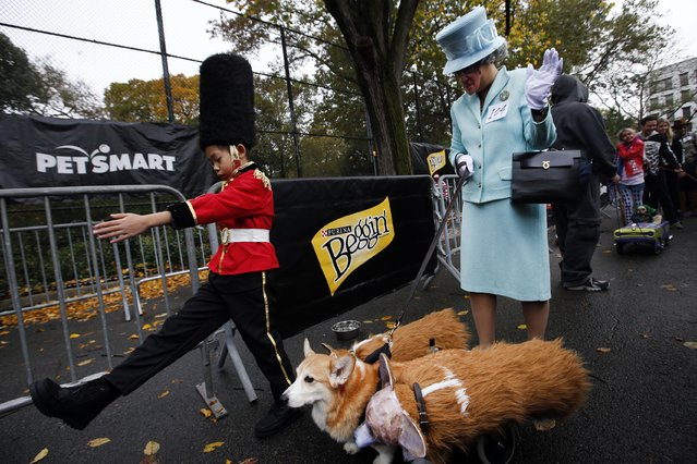 Sylvia Reutens and her son Ben are joined by their Corgi Harry as they march in the Tompkins Square