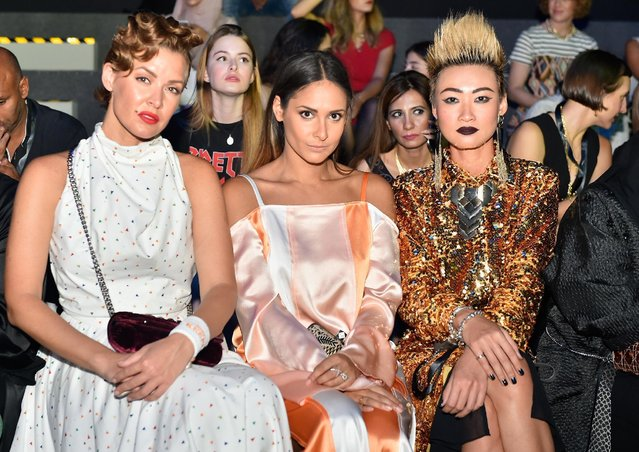(L-R) Natalia Shustova, Samantha Francis and Esther Quek attend the Zareena show during Fashion Forw