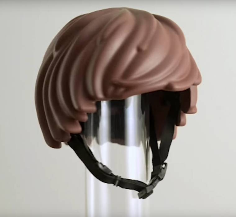 LEGO Hair Helmet - This bicycle helmet will make you look like a LEGO minifig
