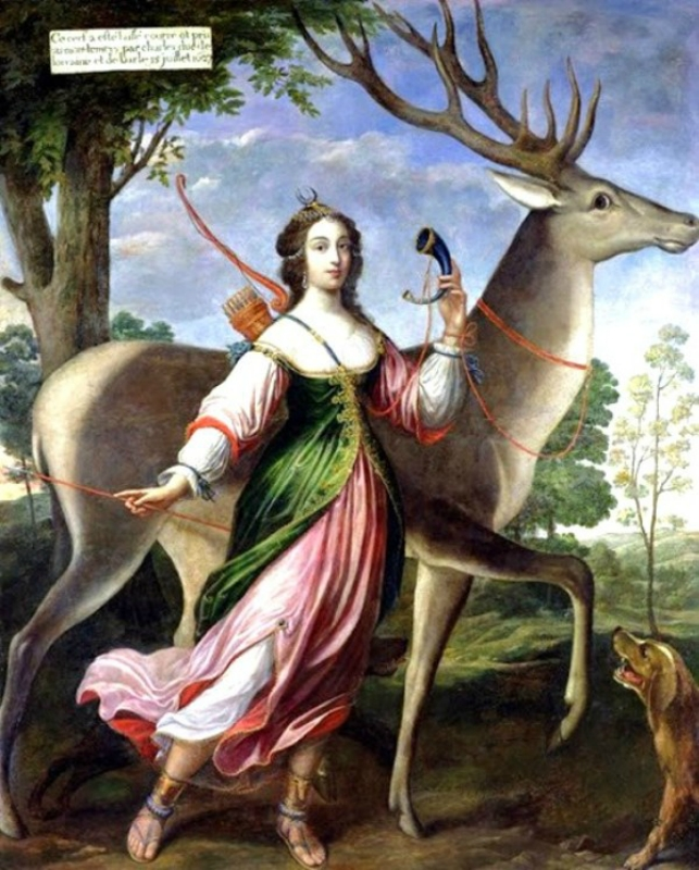 1630 Claude Deruet (French artist, 1588–1660) Marie de Rohan, Duchesse de Chevreuse as Diana the Huntress.jpg