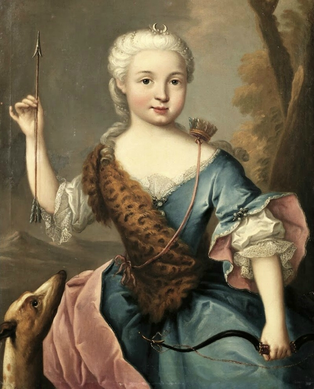 1700s Unknown French artist, Portrait of a Lady as Diana, Goddess of the Hunt.jpg