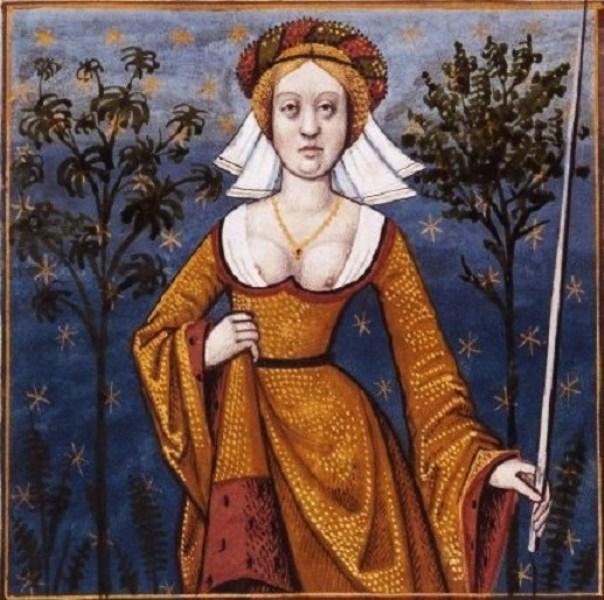 Flore, courtisane, déesse des fleurs et épouse de Zéphir -- BnF Français 599 fol. 55v.jpg