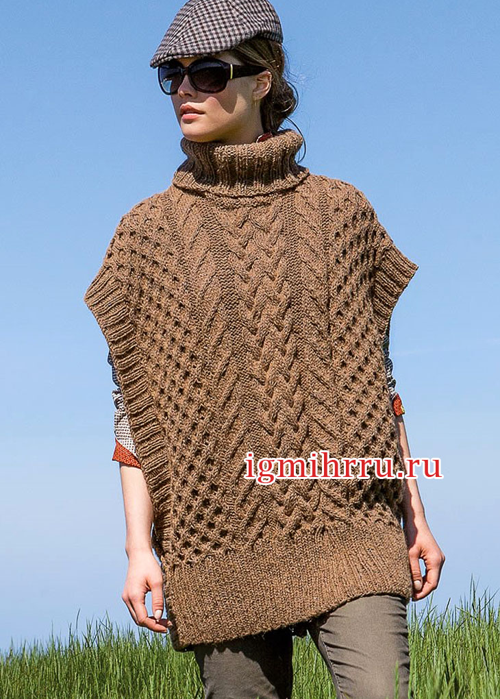 В стиле oversize. Коричневый свитер-пончо с заниженной проймой. Вязание спицами