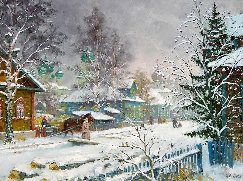 Деревенская улица зимой.