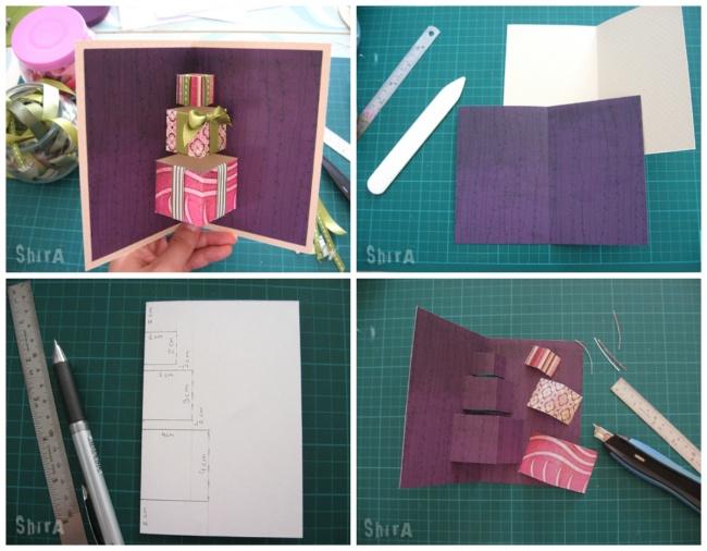 © Shira / Littlegreenbox  Для этой симпатичной ипростой открытки нужны 2листа картона, линей