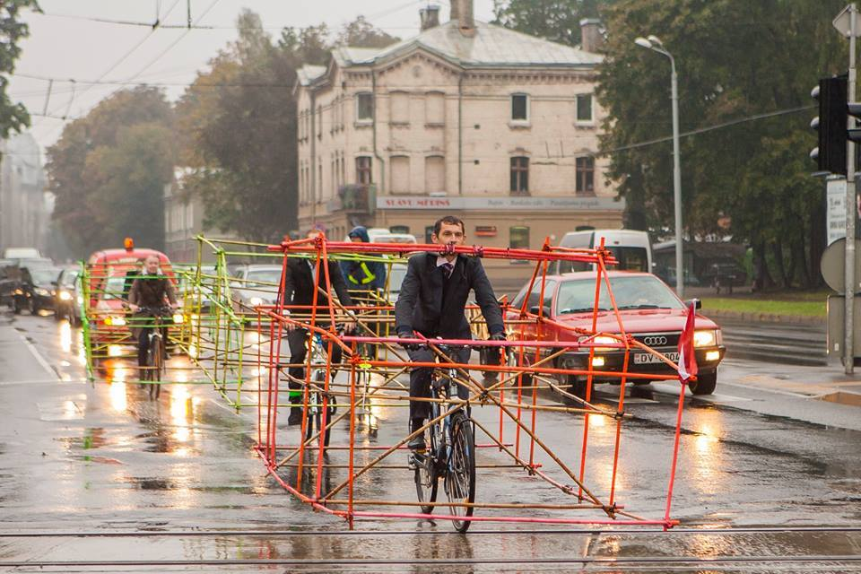Cycling Activists Build Bamboo Car Skeletons to Demonstrate Space Taken by Single Occupancy Cars