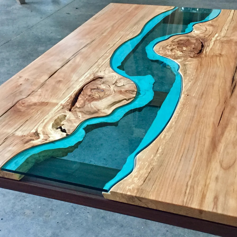 Wood Tables and Wall Art Embedded with Glass Rivers and Lakes by Greg Klassen