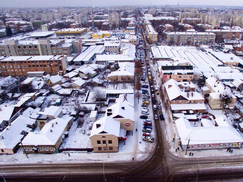 Зимний Житомир с высоты птичьего полёта