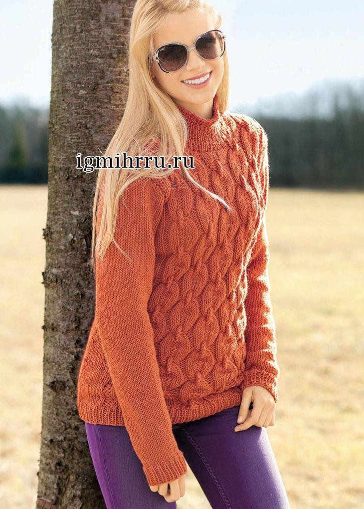 Классический оранжевый свитер с узором из кос. Вязание спицами