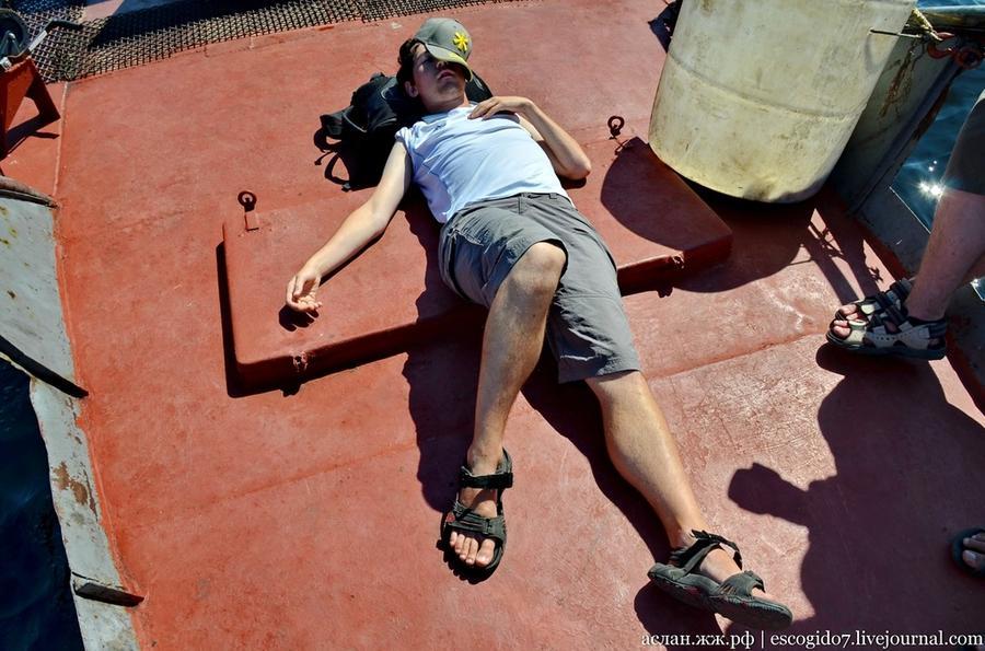 64. Плывем обратно на берег. Один из членов нашей команды немного притомился и решил поспать.