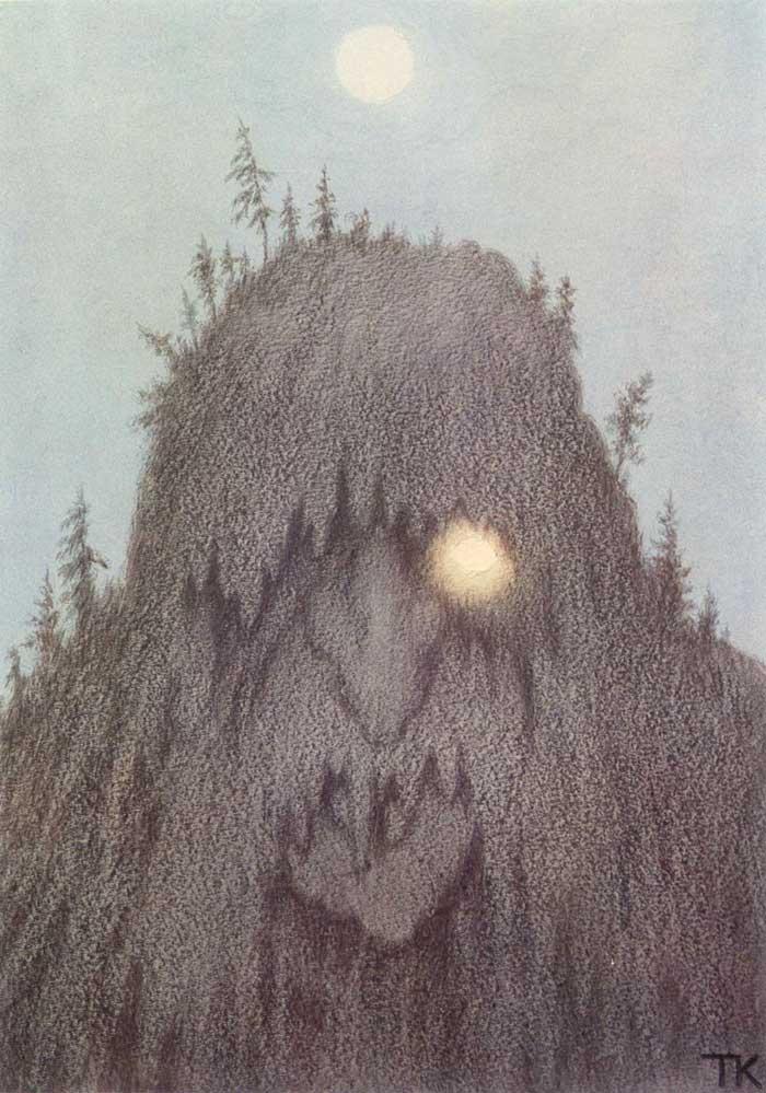«Лесной тролль», 1906. Киттельсен одновременно учился и рисовал картины. Три года спустя у него нача