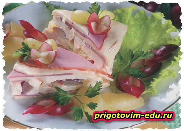 Творожный торт с сыром и ветчиной