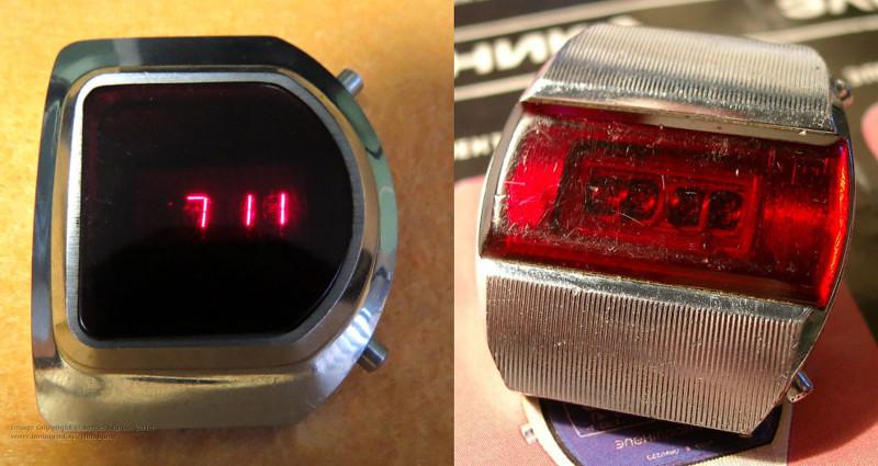 «Электроника-1» — настоящая легенда. Первые советские электронные наручные часы. Узнать время можно было, нажав на кнопку, после чего загорались светодиоды. Запуск серии состоялся в 1973 году