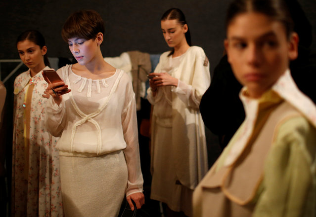 Models wait backstage at the Tbilisi Fashion Week in Tbilisi, Georgia, October 21, 2016. (Photo by D
