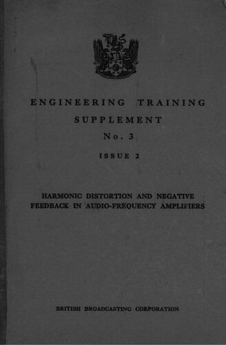 Harmonic Distortion and Negative Feedback in Audio-Frequency Amplifiers - BBC Engineering Training Dept. - Book Cover