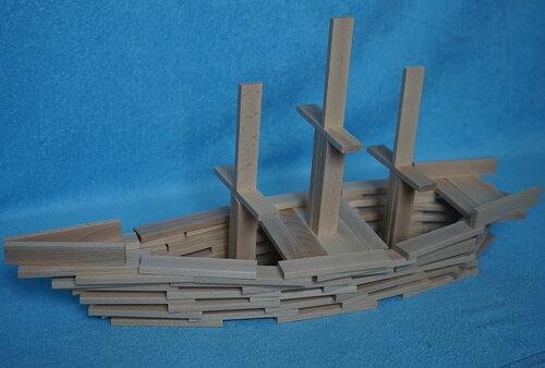 Корабль из плашек (кубиков) Фундера (Fundera) из Ikea (Икеа)