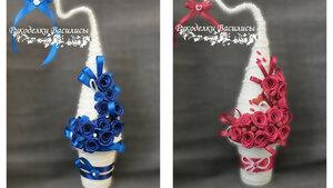 сувениры, ручная работа, рукоделки василисы, розы из атласных лент, handwork, handmade, елочка, новый год, оригинальные подарки, подарки, праздник