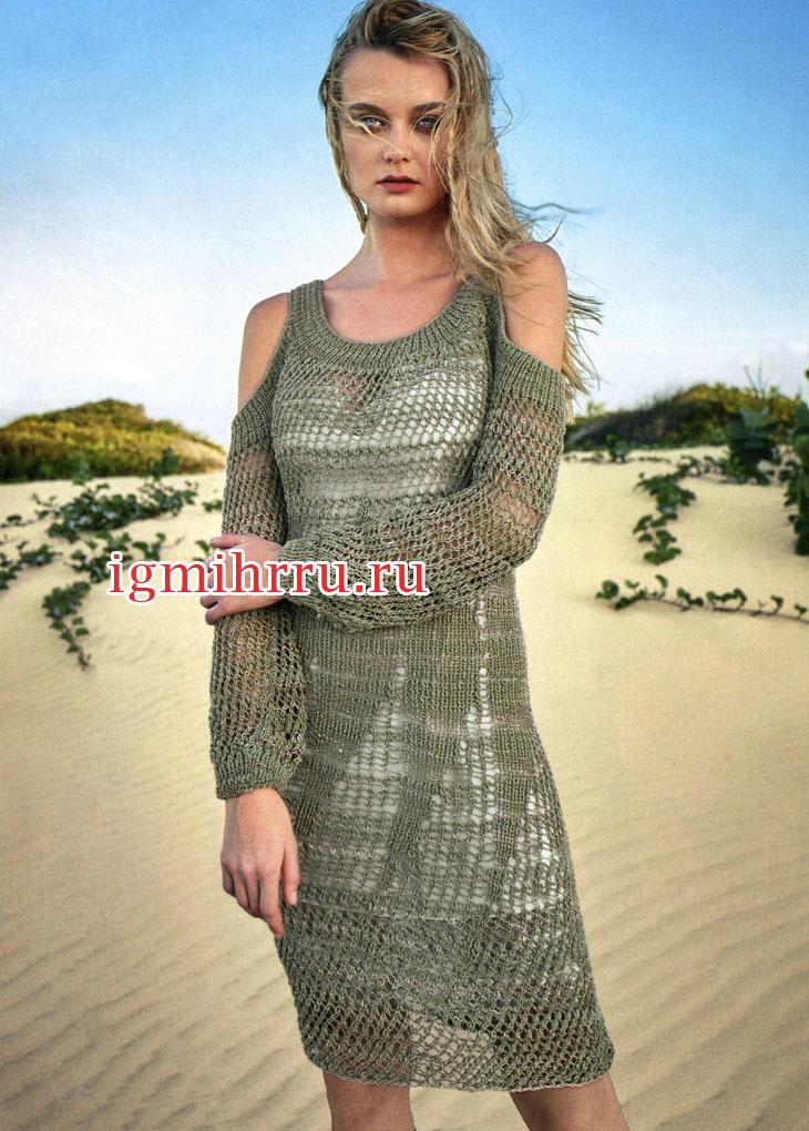 Летнее серо-оливковое платье с узором сетка. Вязание спицами