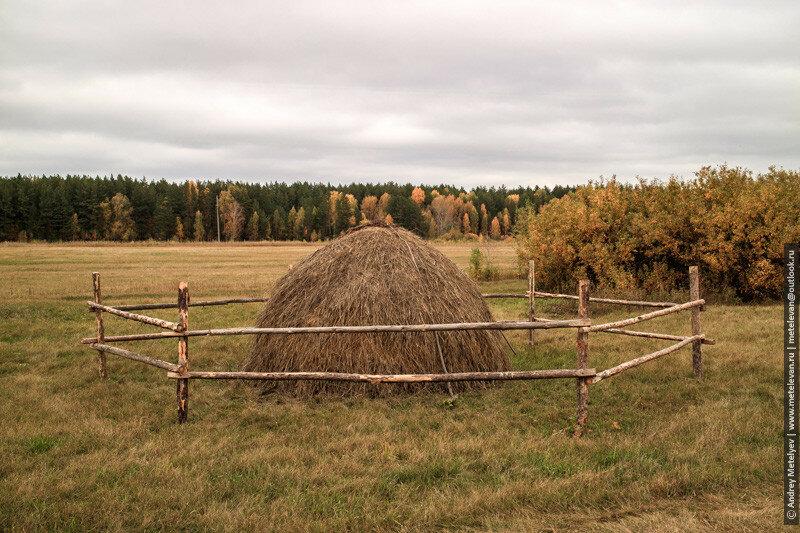 стог сена в поле осенью