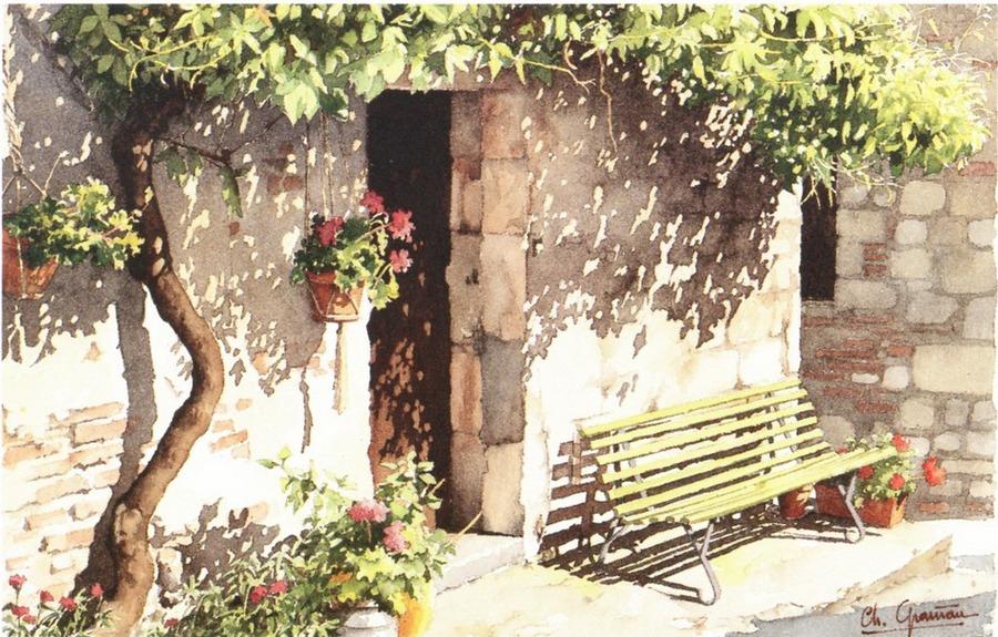 Провинциальные мотивы в солнечных акварелях Кристиана Гранью
