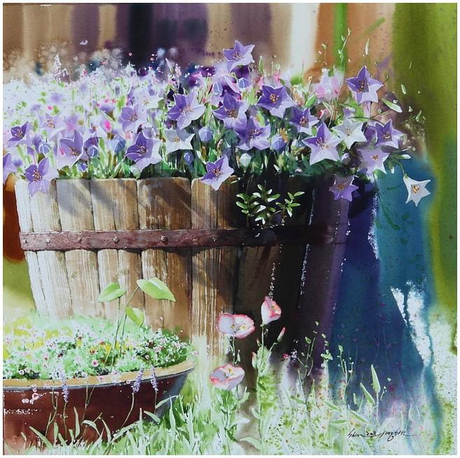 Акварельные цветы / художник Shin Jong Shik