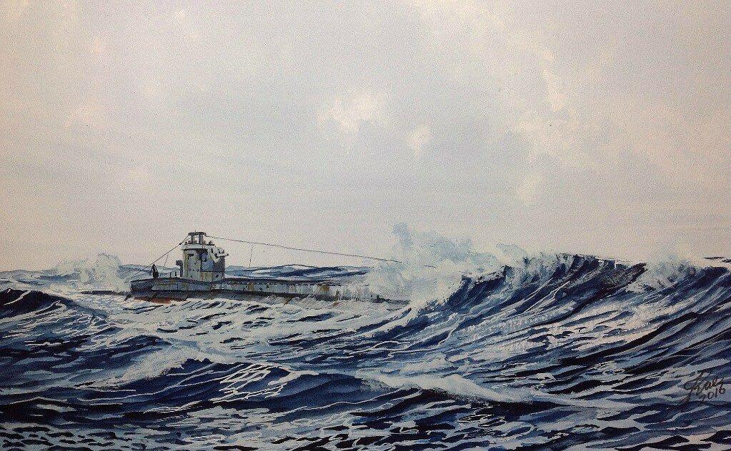 British T Class submarine running on the surface.