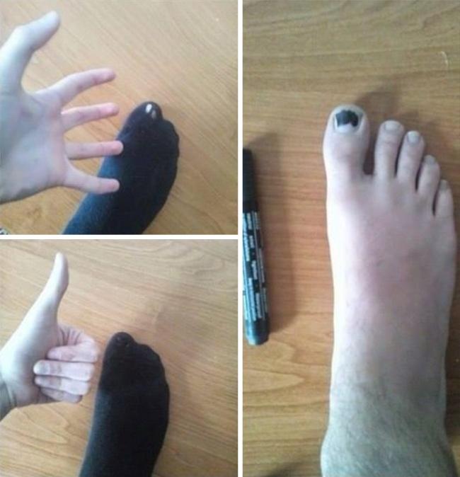Когда прохудились старые носки, не обязательно тратиться на новые. Просто закрасьте дырку маркером,